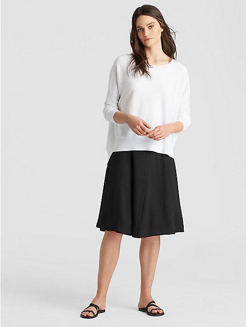Silk Georgette Crepe Godet Skirt
