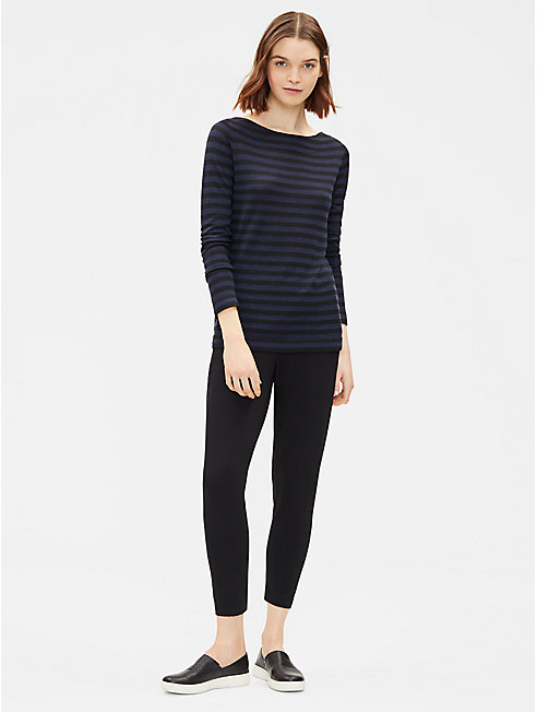 Merino Stripe Bateau Neck Top