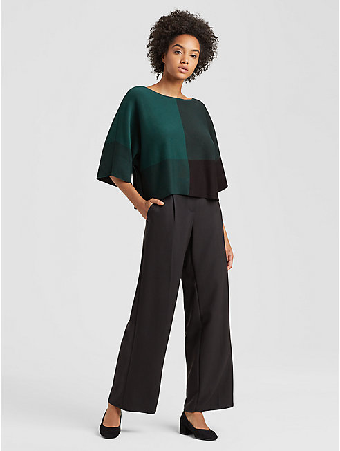 Tencel Knit Color-Blocked Top