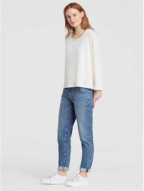 Abraded Organic Cotton Stretch Boyfriend Jean