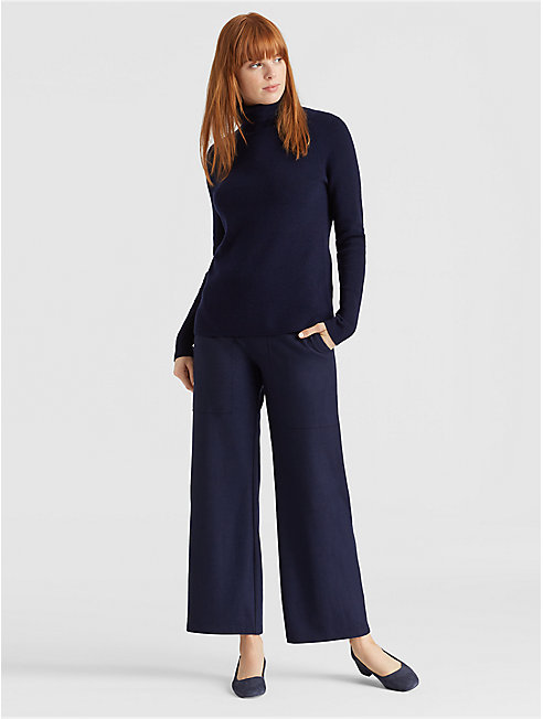 Boiled Wool Jersey Ankle Pant