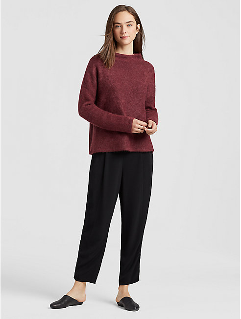 Cashmere Silk Funnel Neck Top