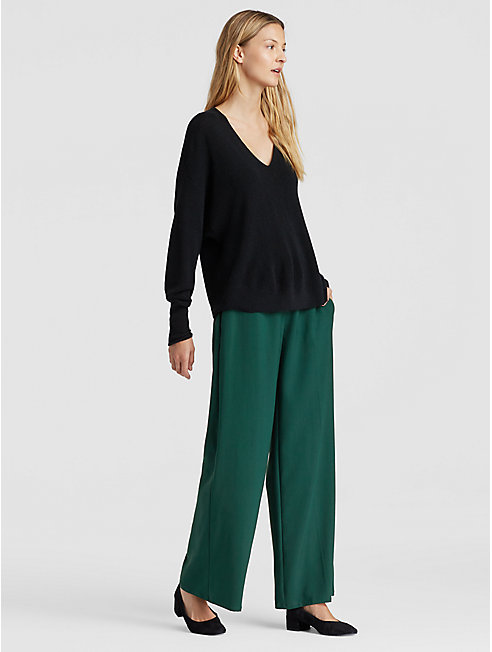 Drapey Tencel Wide-Leg Trouser
