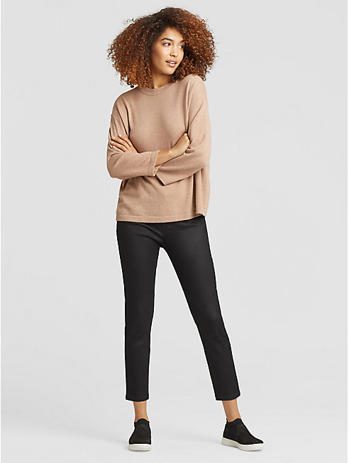 Coated Organic Cotton Slim Ankle Pant
