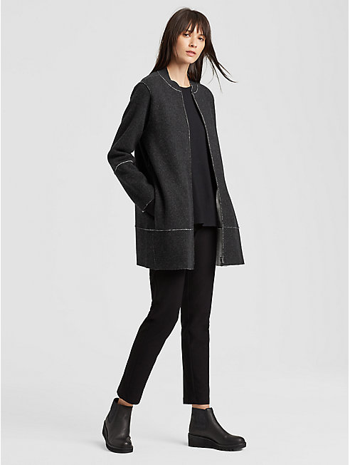 Felted Merino Raw-Edge Long Jacket