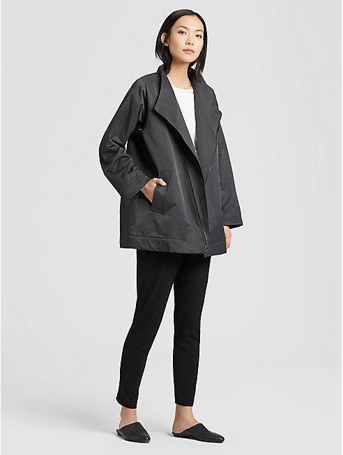Organic Cotton Nylon Asymmetrical Zip Jacket