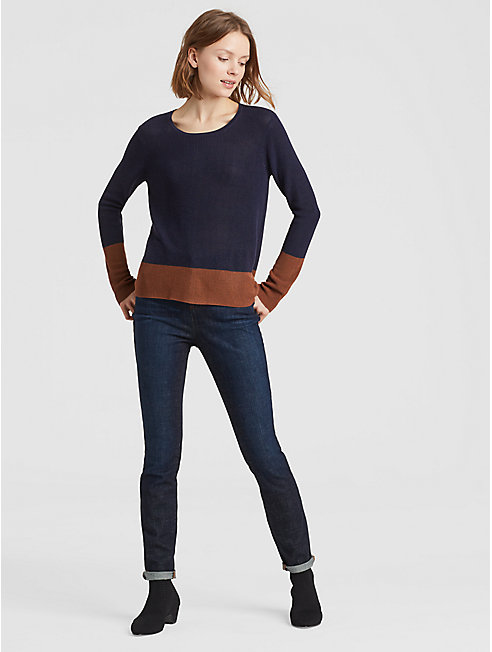 Tencel Silk Color-Blocked Top