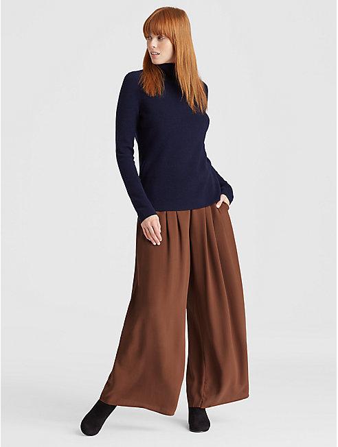 Silk Georgette Crepe Wide-Leg Pant