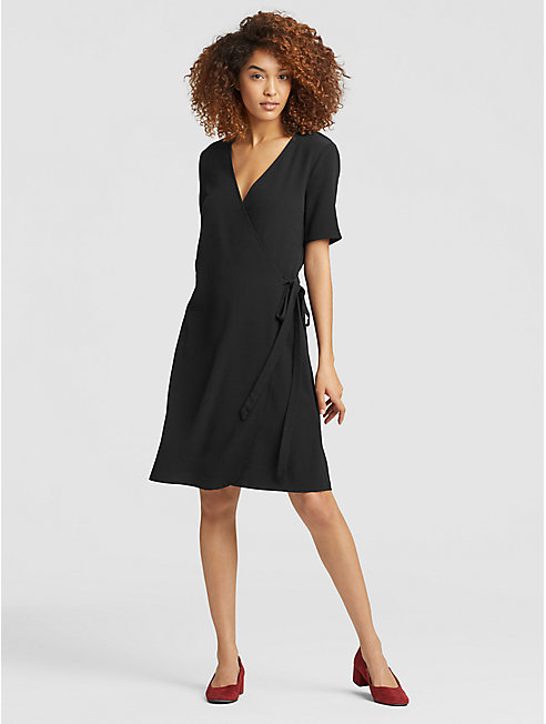 Tencel Viscose Crepe Wrap Dress
