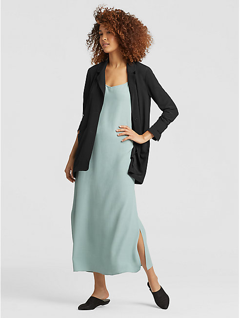 Tencel Viscose Crepe Notch Collar Jacket