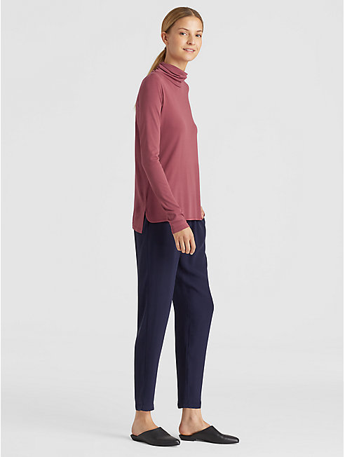 Silk Jersey Turtleneck Top
