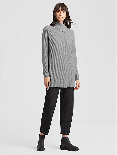 Seamless Italian Cashmere Ribbed Turtleneck Tunic
