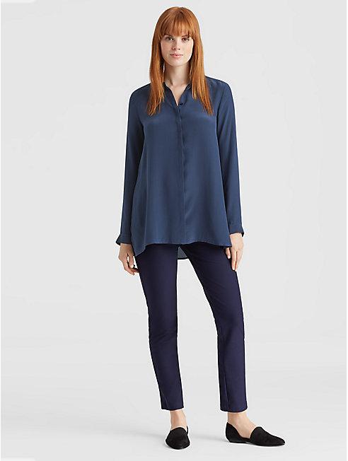 Silk Crepe de Chine A-Line Shirt