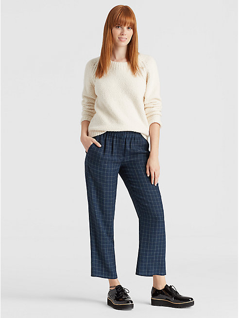 Tussah Silk Plaid Pant