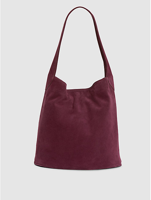 Italian Suede Hobo Bucket Bag