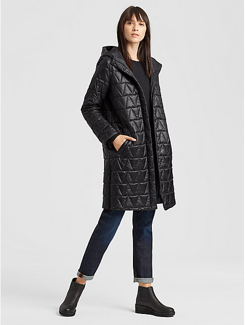 Chevron Recycled Nylon Hooded Coat