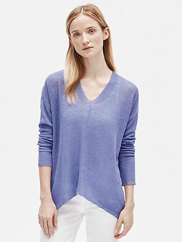 Organic Linen Tencel V-Neck Box-Top