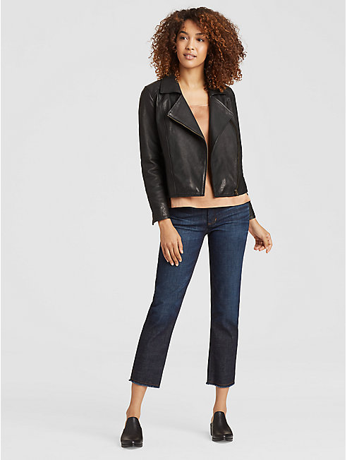 Rumpled Luxe Leather Moto Jacket