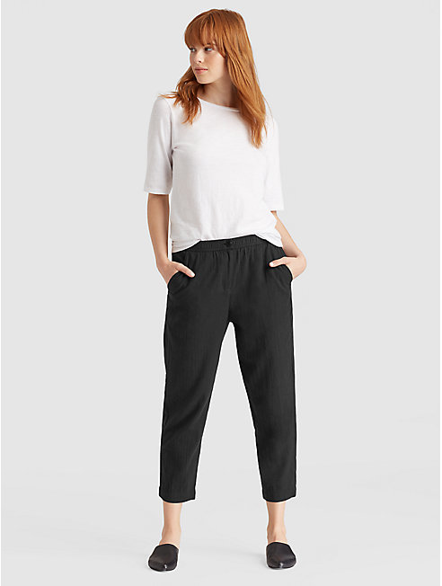 Organic Cotton Crepe Cropped Pant