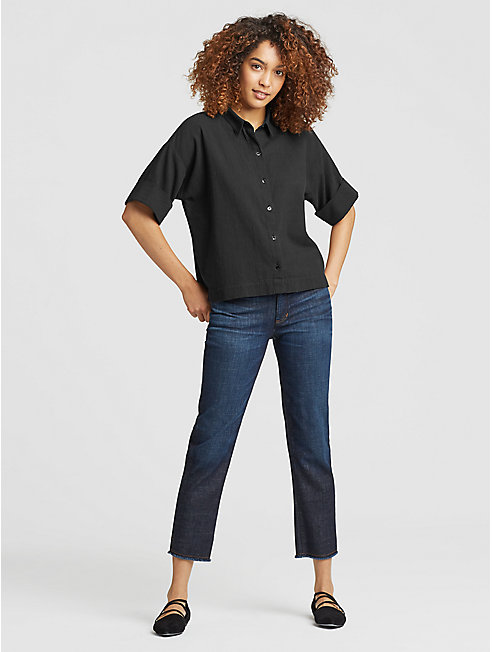 Organic Cotton Crepe Boxy Shirt