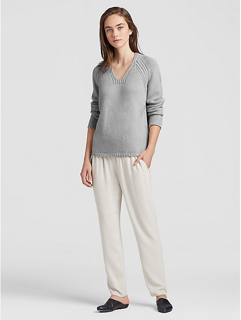 Lofty Recycled Cashmere V-Neck Top