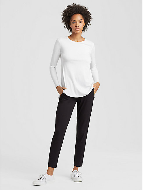 Fine Organic Cotton Jersey Round Neck Top