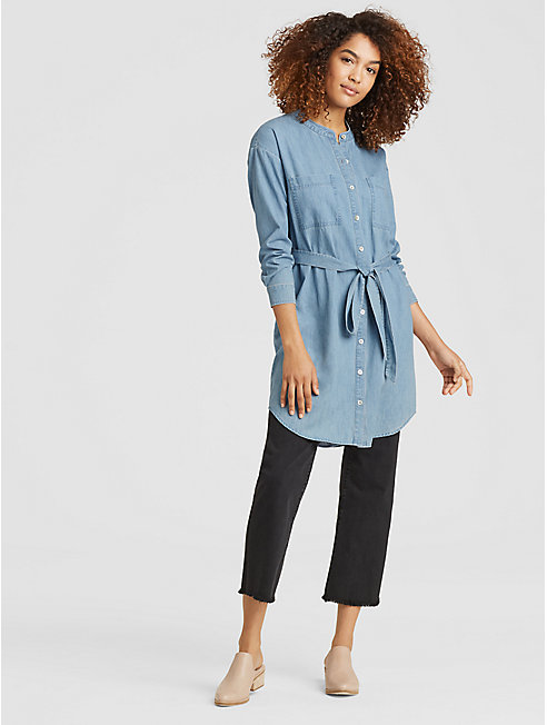 Organic Cotton Denim Shirt Dress with Tie