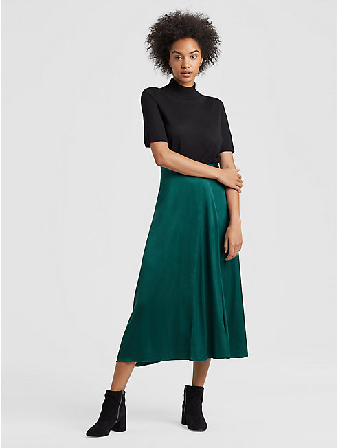 Stretch Silk Charmeuse Godet Skirt