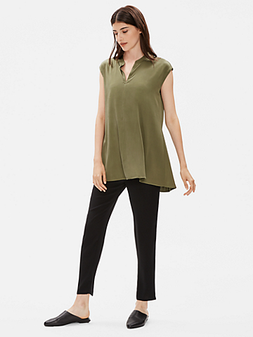 Stretch Silk Charmeuse Top