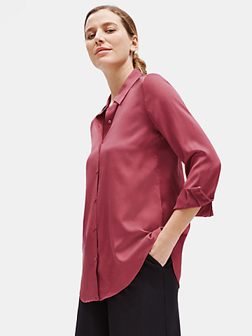 Stretch Silk Charmeuse Shirt