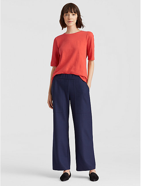 Organic Cotton Slub Elbow-Sleeve Top