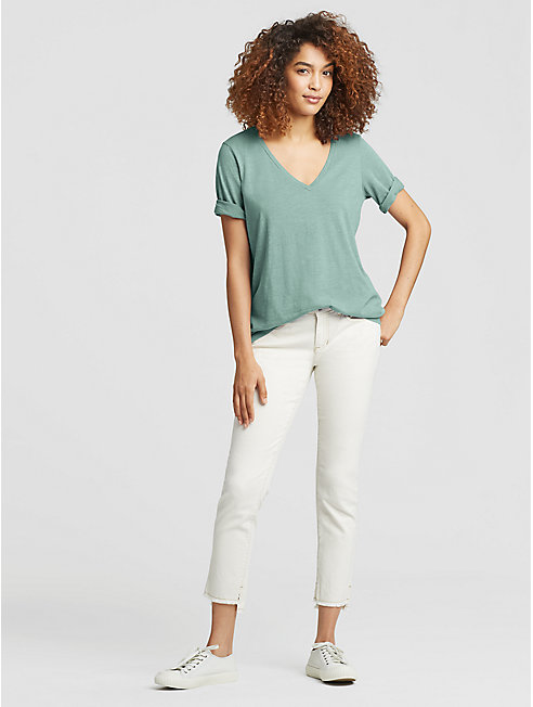 Organic Cotton Jersey Slub V-Neck Tee