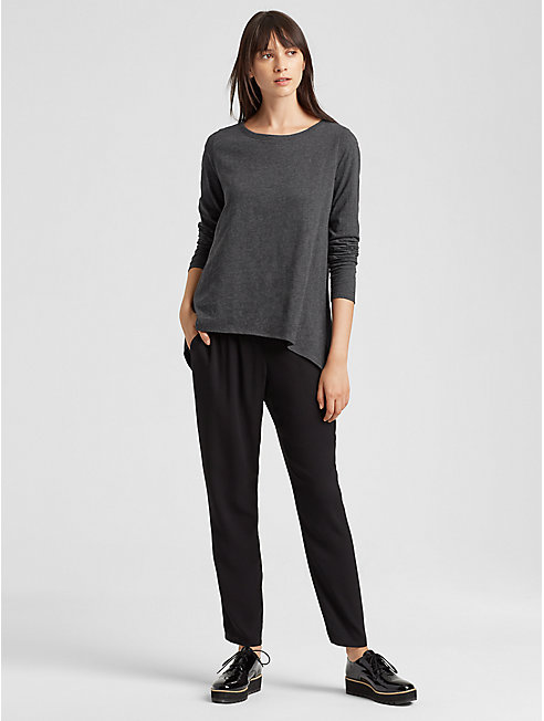 Organic Cotton Jersey Melange High-Low Top