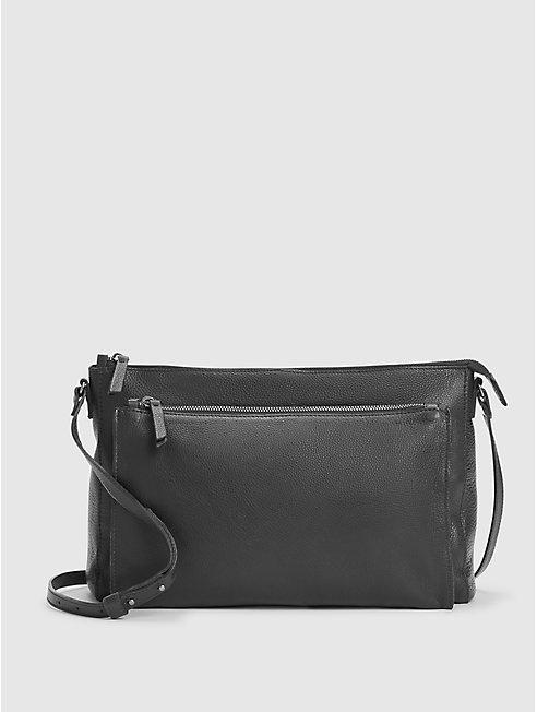 Textured Italian Leather Shoulder Bag