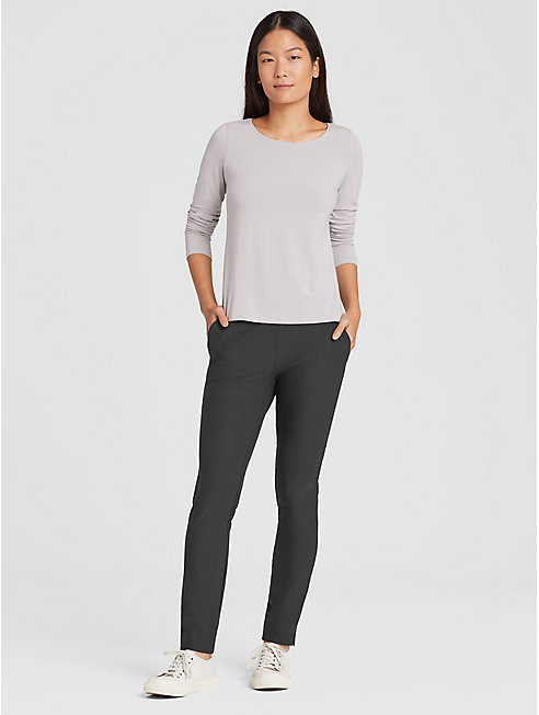 Washable Stretch Crepe Slim Pant with Ankle Slits