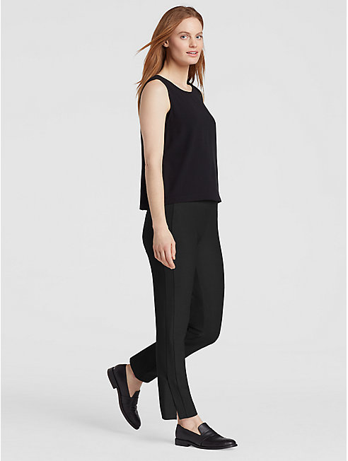 Washable Stretch Crepe Slim Pant with Slits