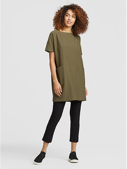 Washable Stretch Crepe Short-Sleeve Tunic