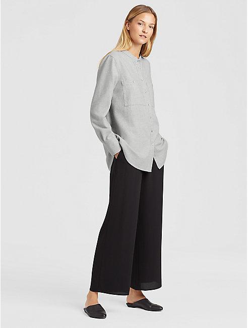 Organic Cotton Flannel Mandarin Collar Shirt