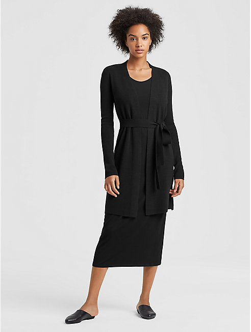 Luxe Merino Stretch Long Cardigan with Belt