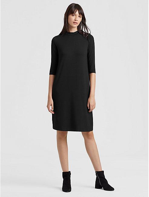 Lightweight Viscose Jersey Mock Neck Dress