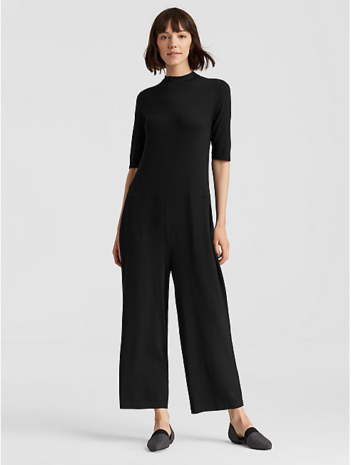Lightweight Viscose Jersey Mock Neck Jumpsuit