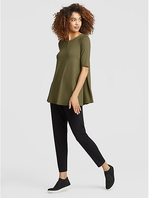 Lightweight Viscose Jersey Elbow-Sleeve Tunic