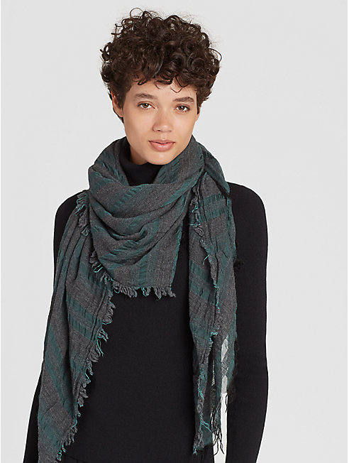 Wool Tencel Cashmere Sheer-Striped Scarf