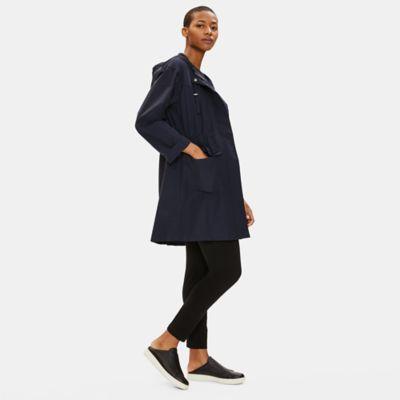 Light Organic Cotton Nylon Hooded Long Coat