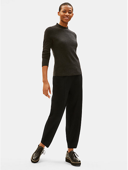 Boiled Wool Jersey Lantern Ankle Pant