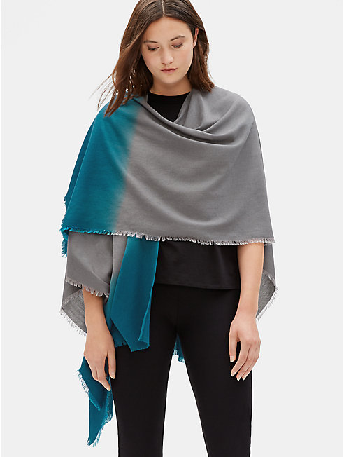 Silk Wool Ombre Poncho