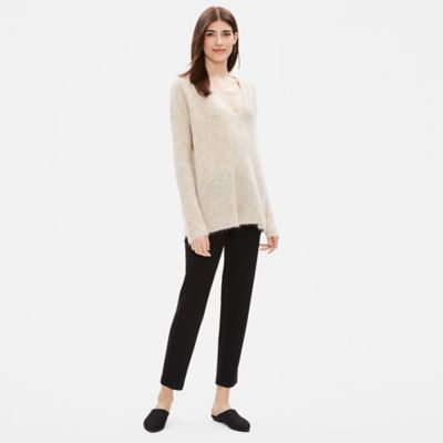 Brushed Alpaca Mohair V-Neck Top