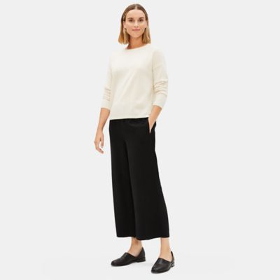 Corded Tencel Wide-Leg Cropped Pant