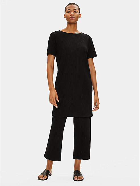 Tencel Stretch Rib Straight Cropped Pant