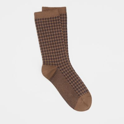 Fine Cotton Houndstooth Sock